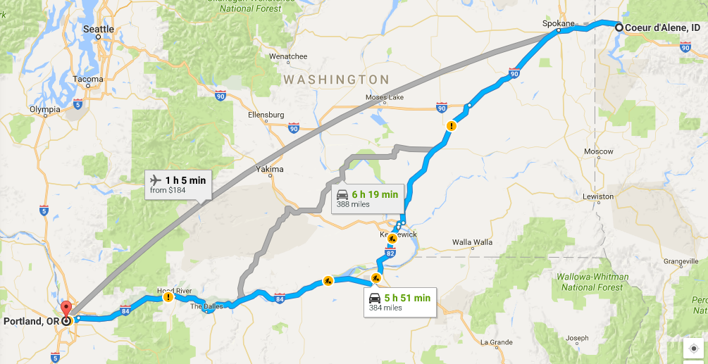 Google Maps: Idaho to Washington to Oregon